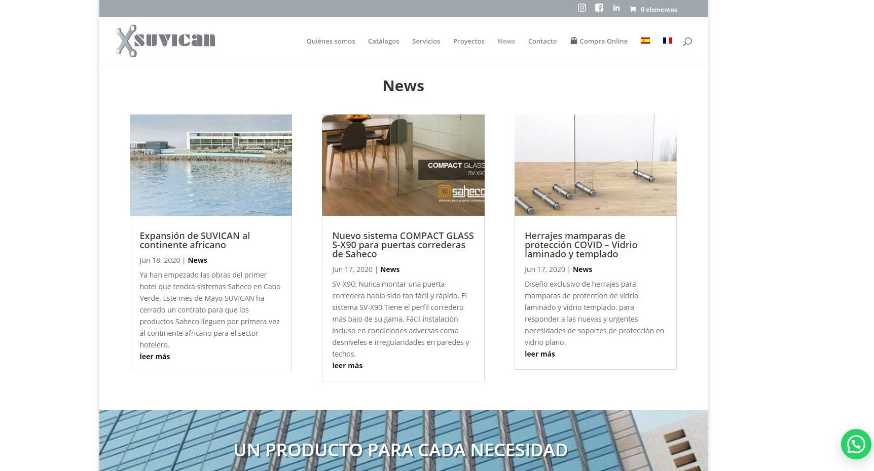 nueva página web suvican news